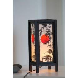Lampe Thailand Bambus mit roter Sonne 28 cm Höhe