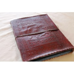 Photo album leather with elephant motif 34x27 cm