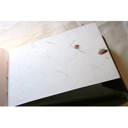 Leather album elephant motif - white pages 27x18 cm