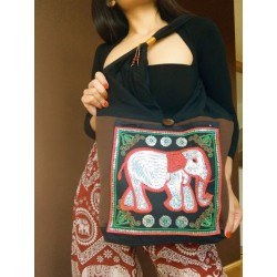 Shoulder bag handbag in boho style from Thailand with elephant - TASCHE130
