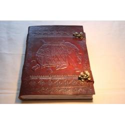 Leder Tagebuch / Notizbuch mit Elefanten Motiv 25x18 cm