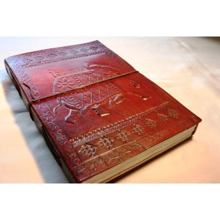 Leder Tagebuch Elefantenmotiv 25x18 cm