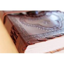 Notizbuch mit Echtledereinband und Stein 23x14 cm