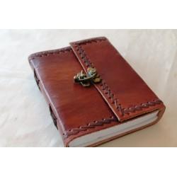 Notizbuch mit Echtledereinband Randverzierung 16x12 cm