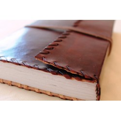 Notebook with genuine leather cover border ornament 23x14 cm