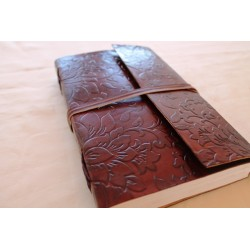 Notebook with genuine leather cover flower motif 23x14 cm