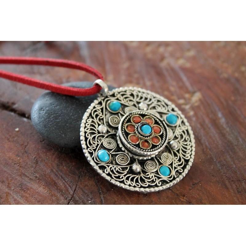 Herr der Weisheit Wunderschönes BUDDHA AMULETT TÜRKIS aus Nepal Manjusri