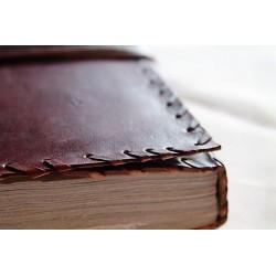 Notizbuch mit Echtledereinband Randverzierung 23x14 cm