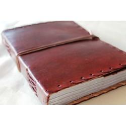 Notizbuch mit Echtledereinband Randverzierung 18x14 cm