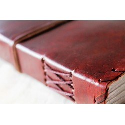 Notebook with genuine leather cover border ornament 18x14 cm
