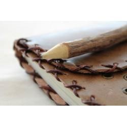 Notizbuch aus Leder mit Naturholzstift 14x18 cm
