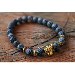 Bracelet made of natural stone beads 8mm and leopard