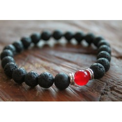 Bracelet made of lava and red pearl 8mm
