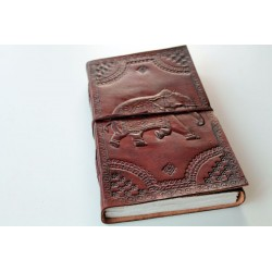 Leather diary with elephant motif 23x14 cm