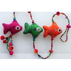 Hängedeko Mobile 3x Fisch Holzperlen 105 cm