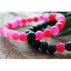2x friendship bracelet natural stone pink black
