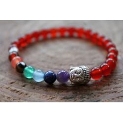 Buddha Bracelet Yoga made of 6 mm red agate beads, 7 chakra, 16.3 cm inner circumference