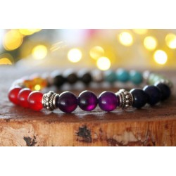 7 chakra bracelet with 8 mm pearls, 19 cm inner circumference