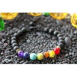 Chakra bracelet with 8 mm natural stone beads, adjustable in size
