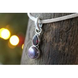 Silberanhänger mit Perle/Granat
