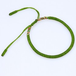 Tibetan happiness bracelet green handmade Buddhism