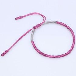 Tibetan happiness bracelet pink handmade Buddhism