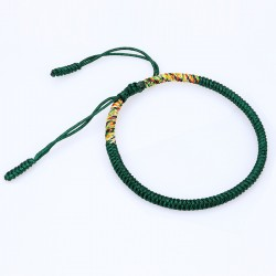 Tibetan happiness bracelet dark green handmade Buddhism