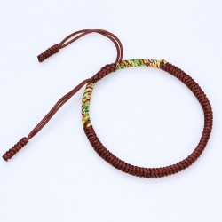 Tibetan happiness bracelet brown handmade Buddhism