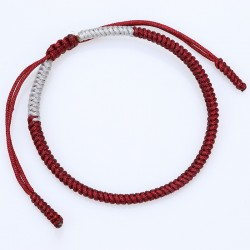 Tibetan happiness bracelet wine red / grey handmade Buddhism