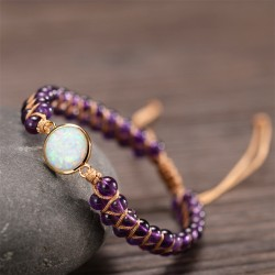 Amethyst protective bracelet elegantly adjustable in size with small 3.5 mm opal replacement beads