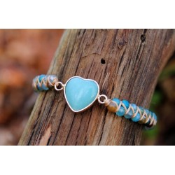 Amazonite protection bracelet elegant with small 4 mm pearls adjustable in size heart