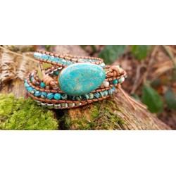 Wrap bracelet five-ply turquoise beads bracelet yoga meditation healing properties