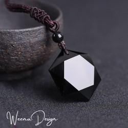Obsidian Necklace Hexagram Obsidian Pendant Protection Balance Grounding Meditation Talisman