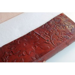 copy of Notebook with genuine leather cover flower motif 23x14 cm
