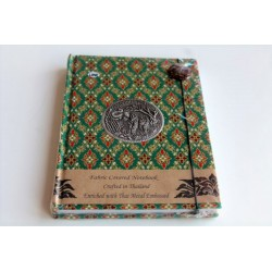 Diary notebook fabric Thailand with elephant 19x14 cm- THAI100