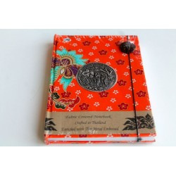 Diary notebook fabric Thailand with elephant 19x14 cm- THAI112