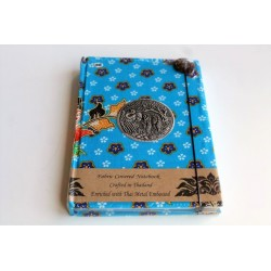Diary notebook fabric Thailand with elephant 19x14 cm- THAI114