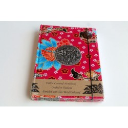 Diary notebook fabric Thailand with elephant 19x14 cm- THAI107