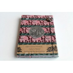 Diary notebook fabric Thailand with elephant 19x14 cm- THAI118