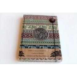 Tagebuch Notizbuch Stoff Thailand mit Elefant 19x14 cm- THAI190