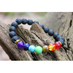 7 chakra bracelet made of natural stones and lava stones 8mm