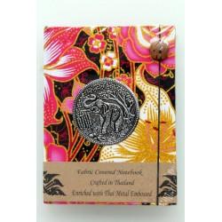Tagebuch Stoff Thailand mit Elefant 15x11 cm - liniert - THAI308