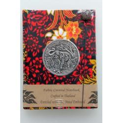 Diary fabric Thailand with elephant 15x11 cm - lined - THAI316