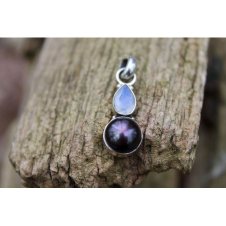 Silberanhänger mit Mondstein und Perle