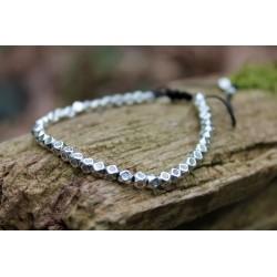 Glücksarmband aus Oktagon Perlen Silber