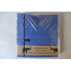 Diary notebook fabric Thailand with elephant 11x11 cm - THAI-S-002