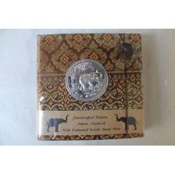 Tagebuch Notizbuch Stoff Thailand mit Elefant 11x11 cm