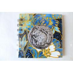 Notizbuch Stoff Thailand mit Elefant Spiralbindung 11x11 cm