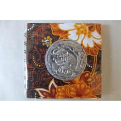 Notizbuch Stoff Thailand mit Elefant Spiralbindung 11x11 cm - THAI-S-047