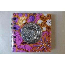 Notizbuch Stoff Thailand mit Elefant Spiralbindung 11x11 cm - THAI-S-048
